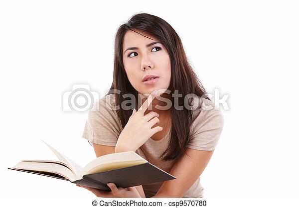 sério, livro, jovem, femininas - csp9570780