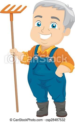 sênior, ancinho, jardinagem, homem - csp28487532