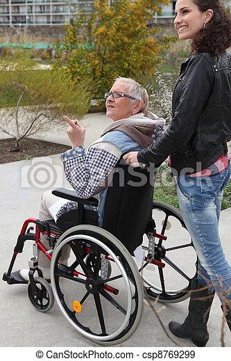 sênior, homecare, mulher, cadeira rodas - csp8769299