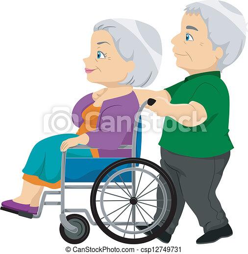 sênior, senhora, cadeira rodas, antigas, par - csp12749731