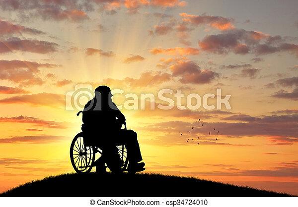 Silueta de discapacitados en una silla de ruedas - csp34724010