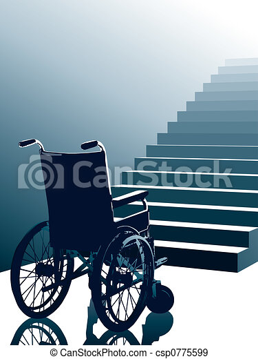 Silla de ruedas y escaleras, vector - csp0775599