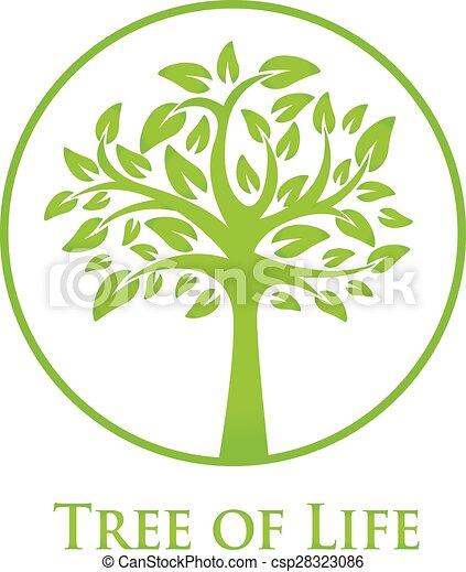 Símbolo árbol Vida árbol Icono Silueta Verde Redondo