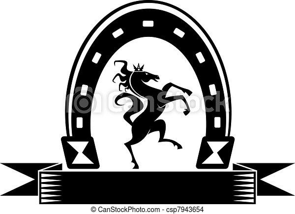 cavalo isolado símbolo afortunado ferradura branca