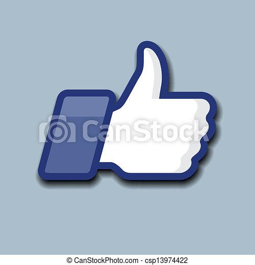 símbolo, cima, cinzento, fundo, like/thumbs, ícone - csp13974422