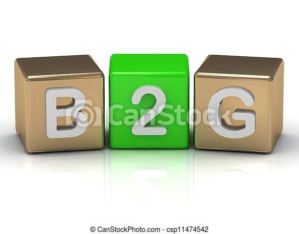 Simbolo de negocios con B2G en cubos de oro y verdes - csp11474542