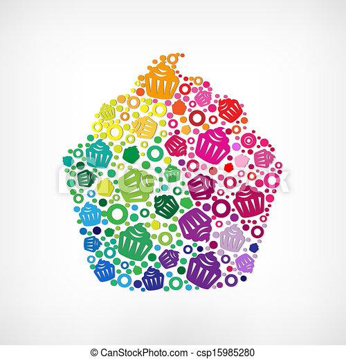 símbolo, cupcake - csp15985280