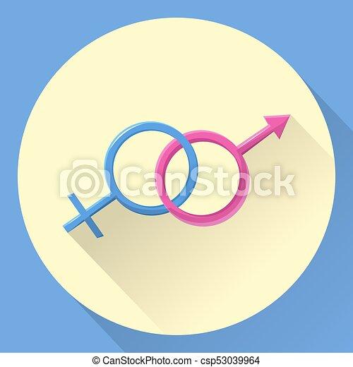 Símbolo Del Género Mujer Hombre Plano Símbolo Del Género