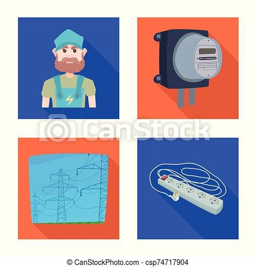 símbolo, electricidad, eléctrico, acción, vector, energía, colección, web., símbolo., diseño - csp74717904