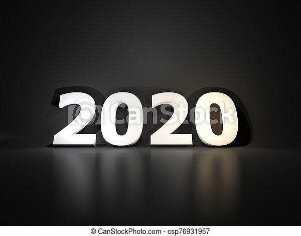 símbolo, encima, plano de fondo, blanco, año, negro, nuevo, 2020 - csp76931957