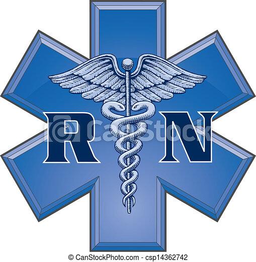 símbolo, estrela, enfermeira registrado - csp14362742
