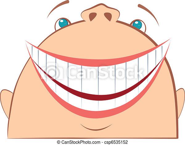 Cara sonriente. Simbolo de cartón de diversión. Hombre Vector - csp6535152