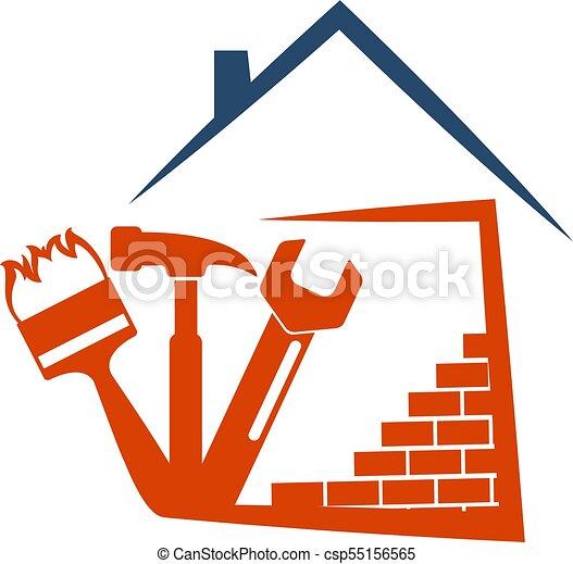 Un símbolo de construcción con herramientas - csp55156565