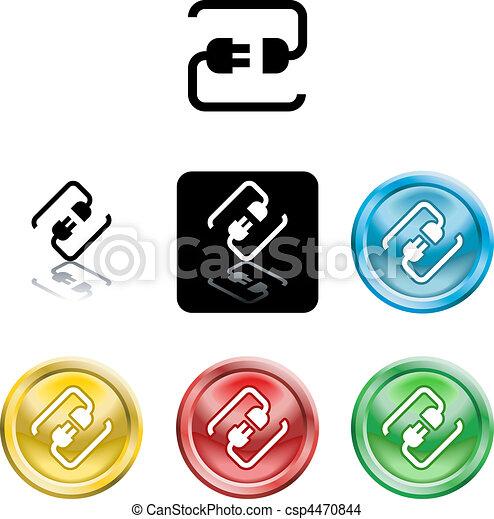 Conectando el símbolo del icono del cable - csp4470844