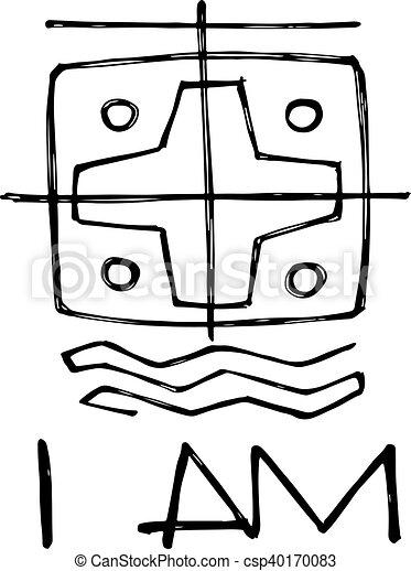 símbolo ilustração religiosa phrase símbolo ilustração mão