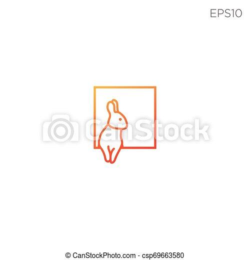 Logo de conejo conejo o símbolo de ilustración vectorial - csp69663580