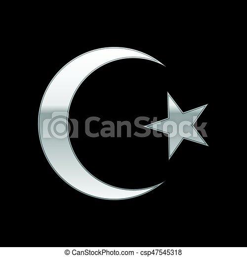El símbolo del Islam plateado sobre el fondo negro. Ilustración de vectores - csp47545318