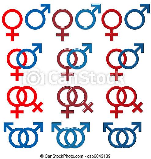 símbolo, macho, femininas, & - csp6043139