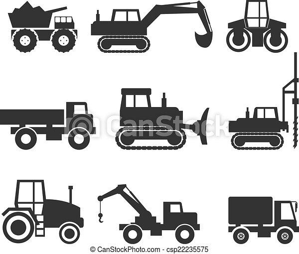 símbolo, maquinaria construção, ícone, gráficos - csp22235575