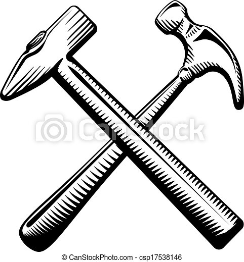 símbolo, martillos cruzados, dos - csp17538146