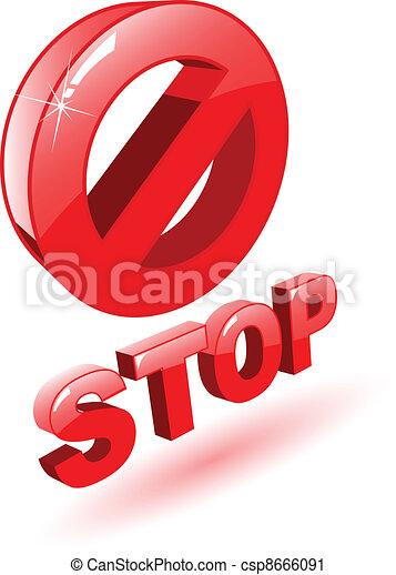 El vector rojo 3D símbolo de parada en blanco - csp8666091