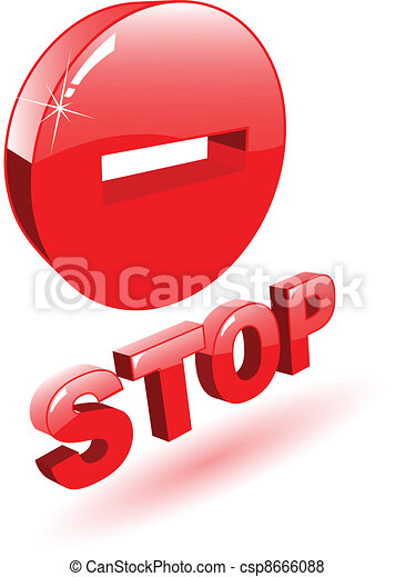 El vector rojo 3D símbolo de parada en blanco - csp8666088