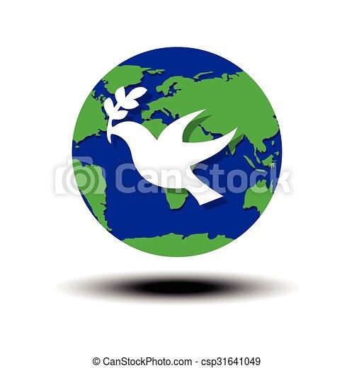 El Símbolo De La Paz Mundial Paloma Olive Globo De Paz