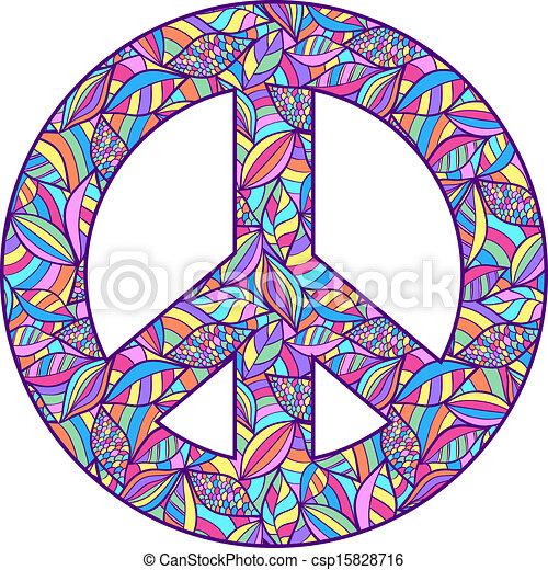Simbolo Paz Coloridos Coloridos Simbolo Paz Ilustracao