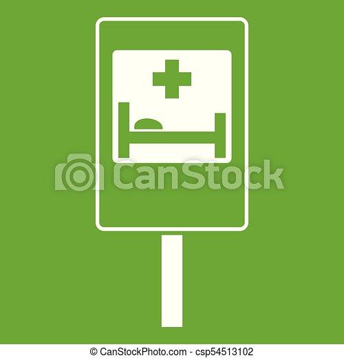 El símbolo de la señal de la carretera del hospital verde icono - csp54513102