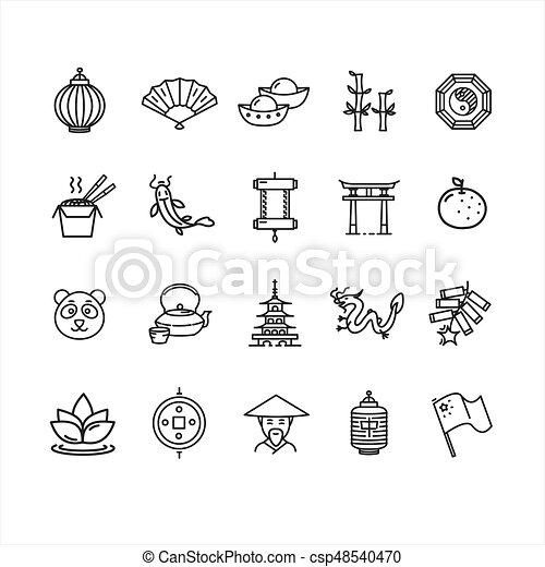 Símbolo de la línea de icono china y delgada. Vector - csp48540470