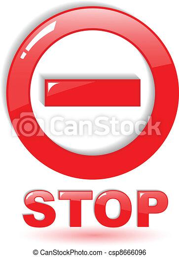 El símbolo de la parada del vector rojo en blanco - csp8666096