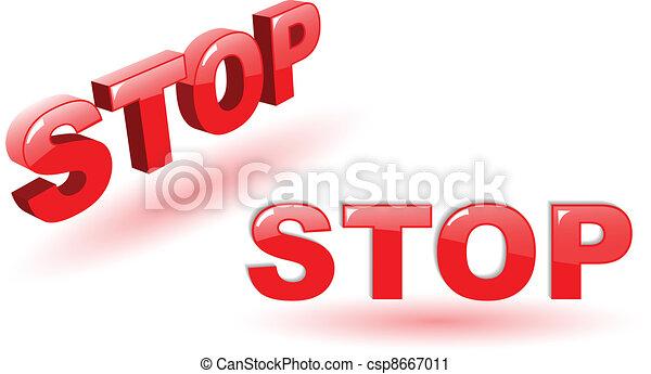 El símbolo de la parada del vector rojo en blanco - csp8667011