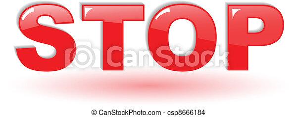 El símbolo de la parada del vector rojo en blanco - csp8666184