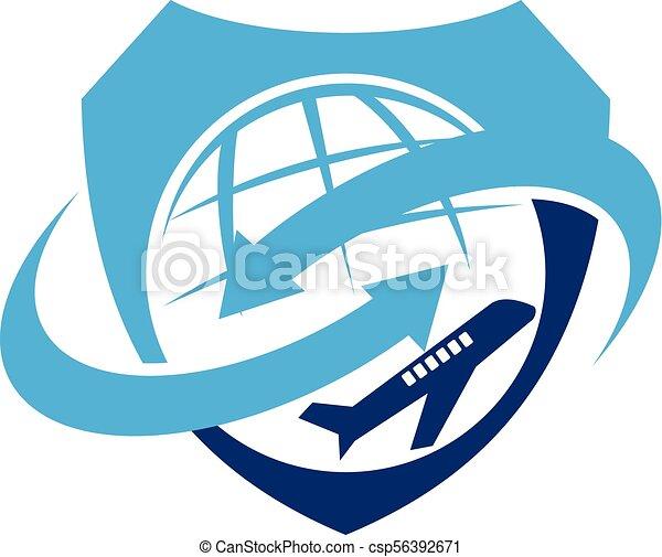 símbolo, vetorial, desenho, modelo, logotipo, avião - csp56392671