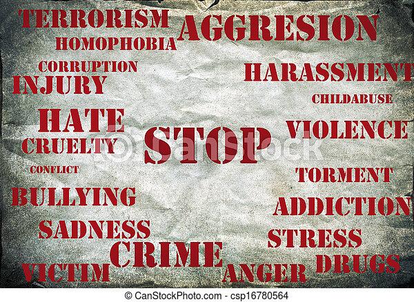 Detenga el símbolo de la violencia - csp16780564