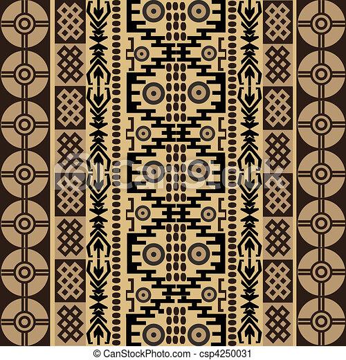 símbolos, étnico, textura, tradicional, ornamentos, africano - csp4250031