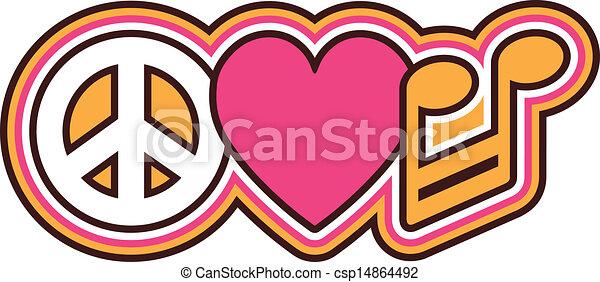 Simbolos Amor Paz Musica Coracao Cor De Rosa Marrom Paz