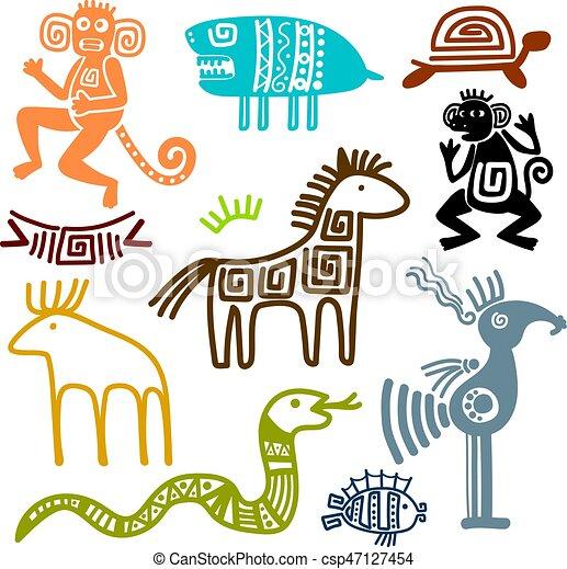 Símbolos, antiguo, maya, animal, azteca. Vector, antiguo, maya ...