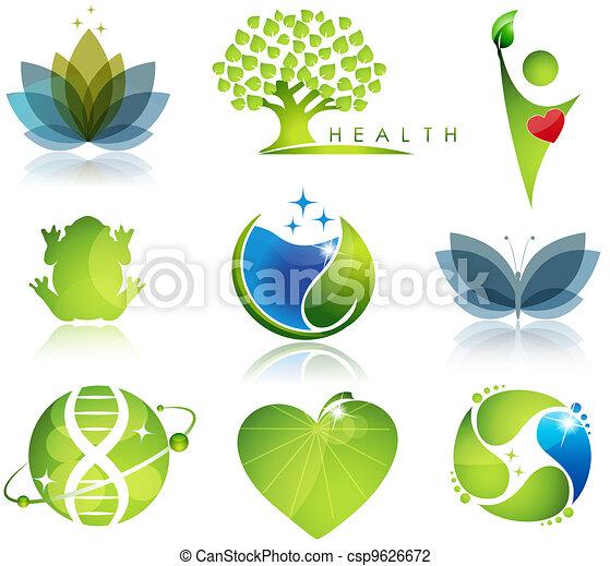 símbolos, atención sanitaria, ecología - csp9626672