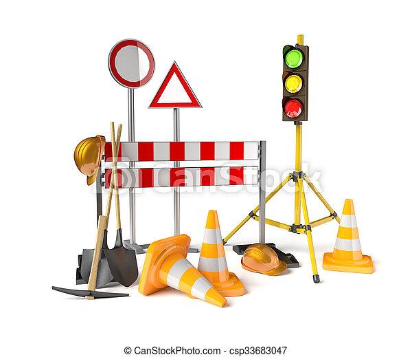 Las construcciones de tráfico simbolizan el fondo blanco - csp33683047