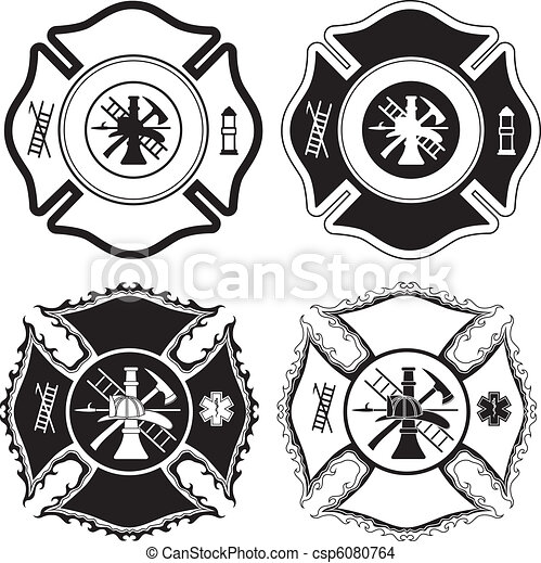 símbolos, bombeiro, crucifixos - csp6080764