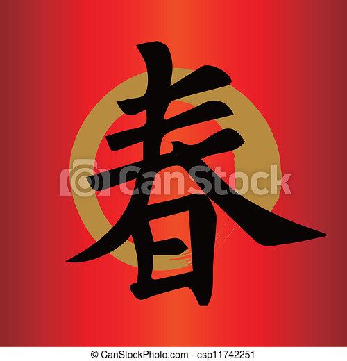 Simbolos De Buena Suerte Chinos Un Personaje Chino Para Buena Suerte Año Nuevo Chino Canstock