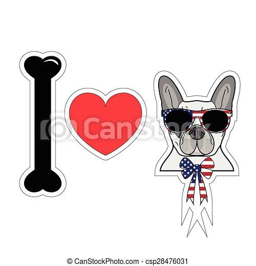 Me encanta el bulldog francés con símbolos americanos - csp28476031