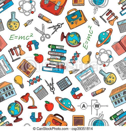Símbolos, ciencia, papel pintado, conocimiento. Química ...