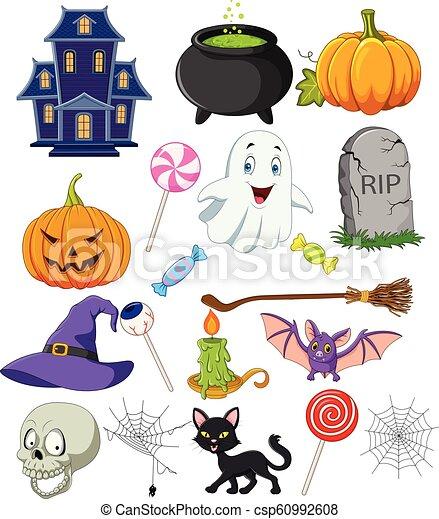 Coleccion de símbolos de Halloween de dibujos animados - csp60992608