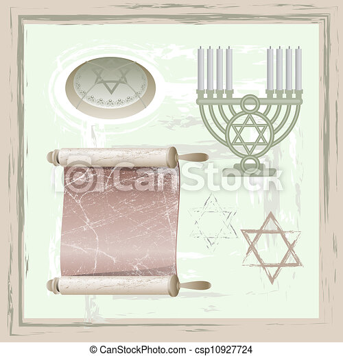 Simbolos de Hanukkah - csp10927724