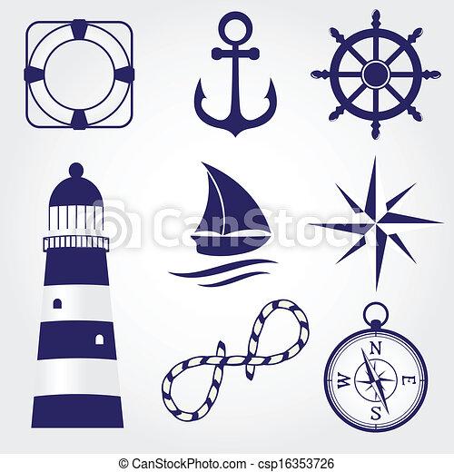 s mbolos conjunto marina ilustraci n vectorial buscar