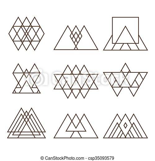 Mbolos Conjunto Tatuaje Neas Imagen Triangle Logo Tattoo