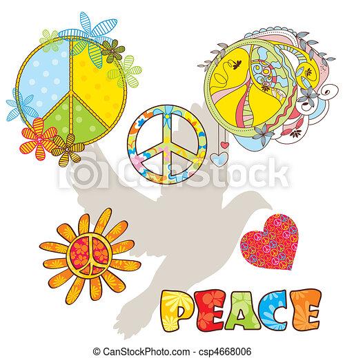 Un conjunto de varios símbolos de paz - csp4668006