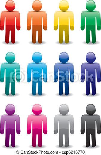 Un conjunto de símbolos de hombre colorido - csp6216770